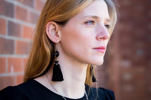 Black opaque tassel earrings