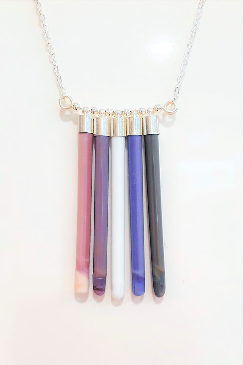 Pipes necklace 5 -purple/pink
