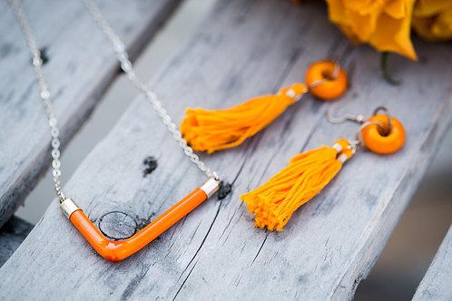 Orange angle candy bar necklace