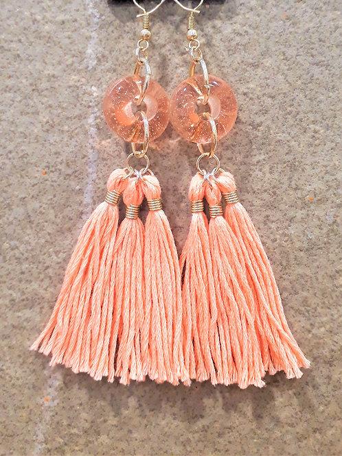 Pink transparent bead & tassel earrings