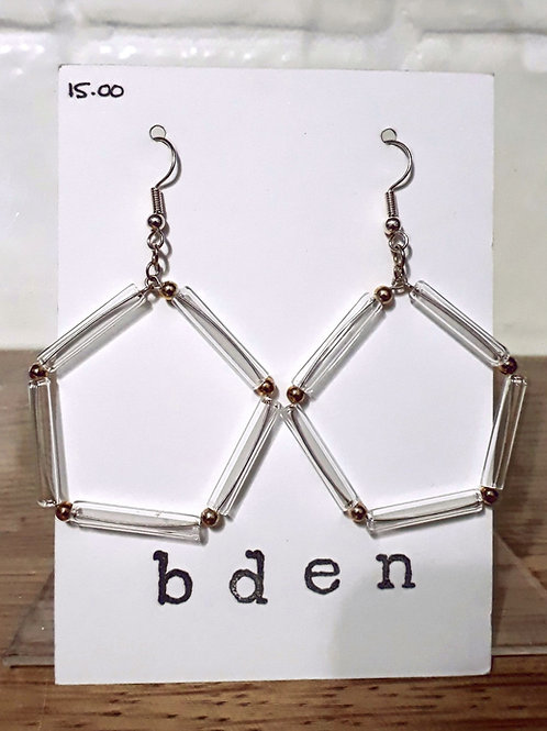 Pentagonal tube earrings