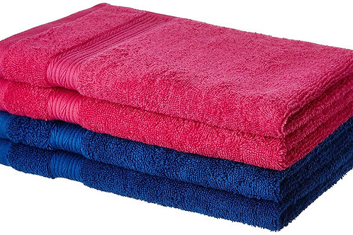 Amazon Brand - Solimo 100% Cotton 4 Piece Hand Towel Set, 500 GSM (Iris Blue and