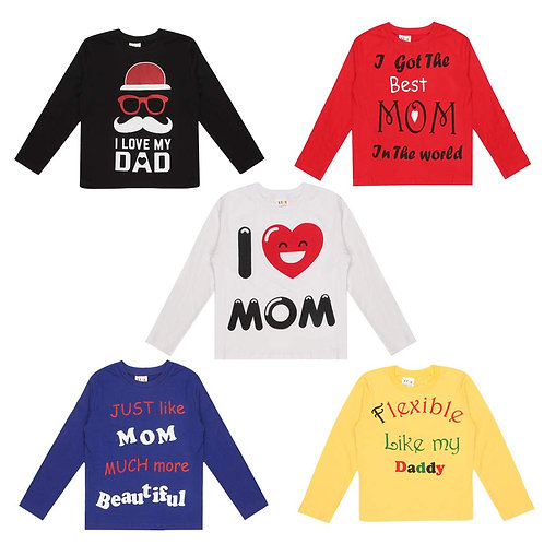 Baby Mom & Dad Quotes Full Sleeves Printed T-Shirts Multicolor(Pack of 5)