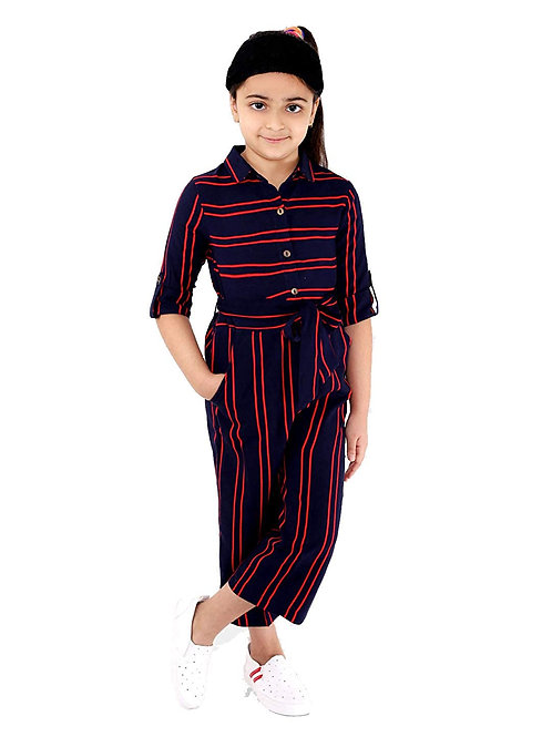 Naughty Ninos Girls Navy Blue & Red Striped
