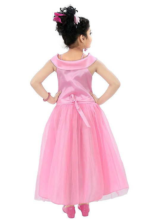 Kids Floral Appliqué Festive Gown Dress for Girls.