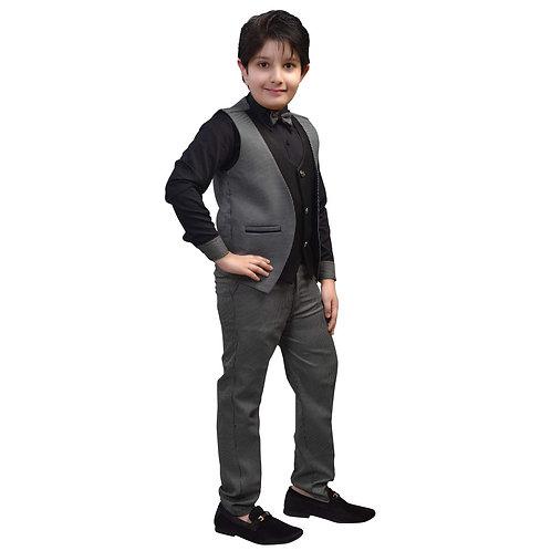 Boys Cotton Jacket, Shirt and Pant Set