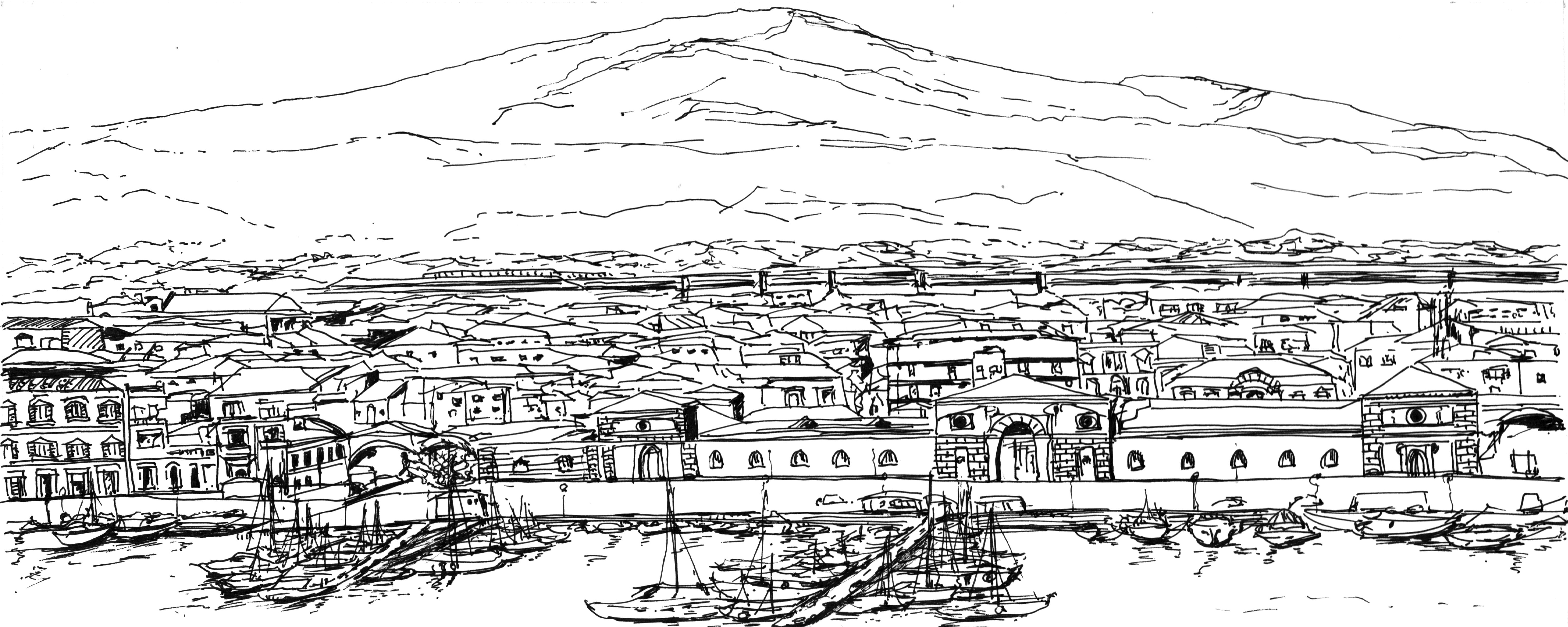 Panoramica Etna dal porto