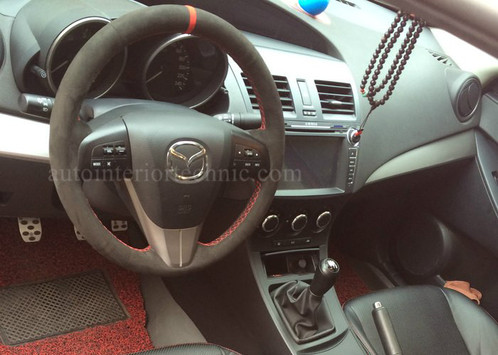 Note: Steering Wheel Wrap For Mazda Speed3 And Mazda 3 Is The Same No Need  To Take Off Steering Wheel To Install The Steering Wheel Wrap Center Stripe  Color ...