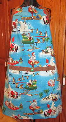 Whimsical Santa - Seasonal Chef Apron with Contrast Trim