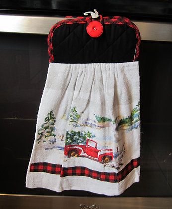 Red Truck, Buffalo Plaid Towel