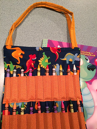 Dino with Gold - Kid's Crayon Tote