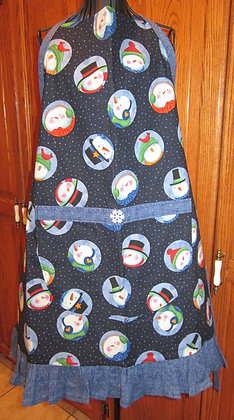 Snowman Circles - Chef Apron with Ruffle