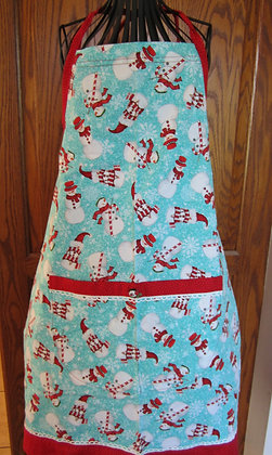 Snowmen with Red - Seasonal Chef Apron with Contrast Trim