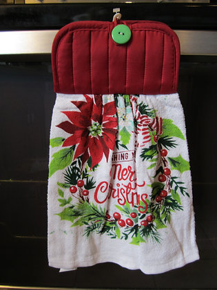Poinsettia Wreath Towel