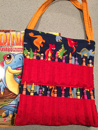 Dino with Red - Kid's Crayon Tote