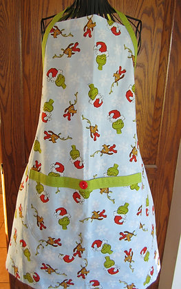 Grinch and Max - Seasonal Chef Apron with Contrast Trim