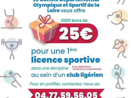 Bon de 25€ pour une licence sportive