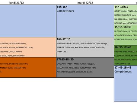 Planning vacances de noël