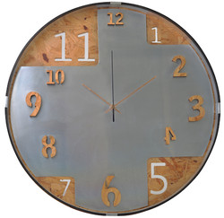 Recycled Metal & Recycled Wood Clock