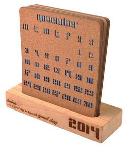 Cork & Wooden Desk Calendar