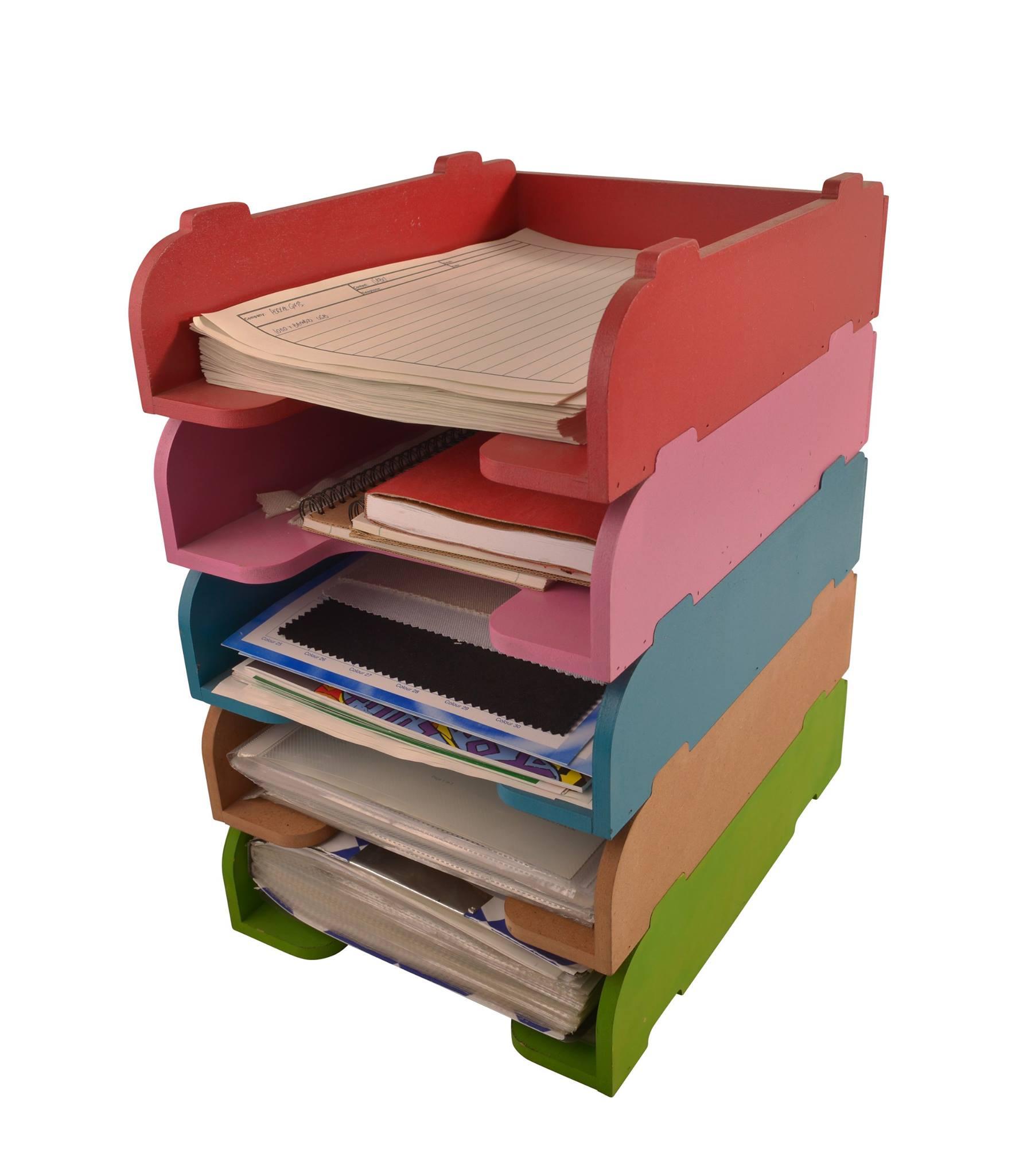 Wooden Desk Organiser Trays