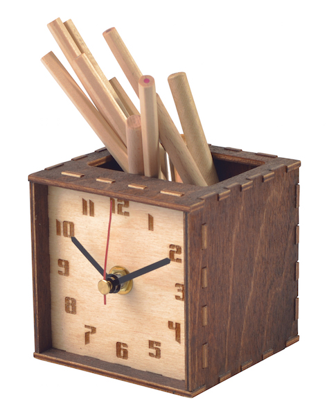 Desktop Wooden Clock / Pen Pot