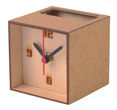 Desktop Wooden & Cork Clock/Pen-Pot