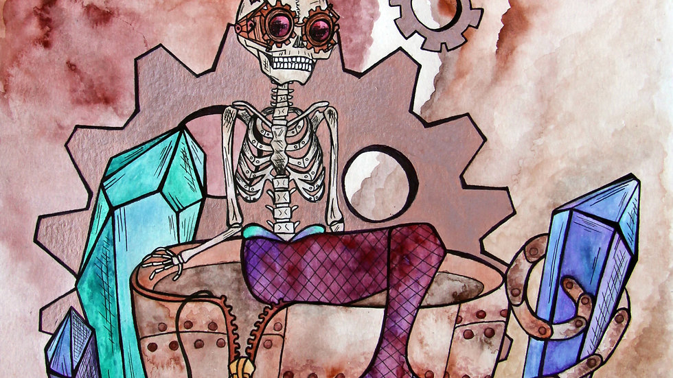 Steampunk Skeleton Mermaid Print