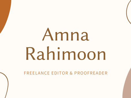For all, that are looking for an editor! Thank you Amna Rahimoon for Editing my book...