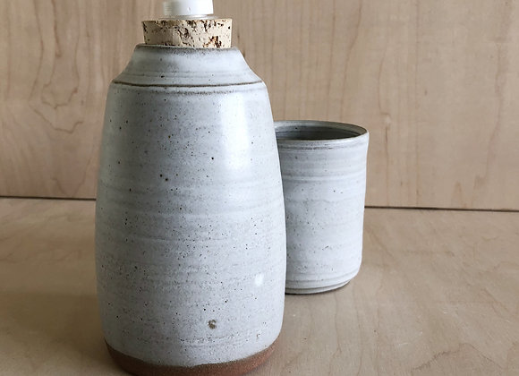 Grey Matte Soap Dispenser and Cup