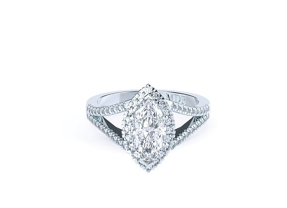 Sensational 18ct White Gold Marquise Halo Diamond Ring