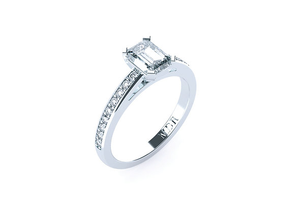 Array of Stunning Diamonds with Centre Emerald Cut Diamond set in Platinum