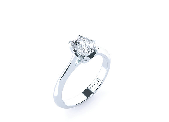 Cushion Cut Diamond Solitaire Ring set into 18ct White Gold Band