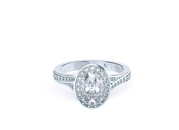Oval Diamond surrounded by Halo of Diamonds & Designed into 18ct White Gold