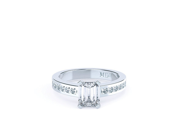 Emerald Cut Diamond Ring finished in 18ct White Gold