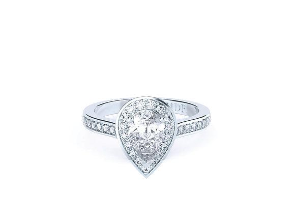 18ct White Gold Pear Cut Halo Diamond Ring