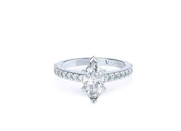 18ct White Gold Marquise Cut Diamond Ring withdiamond band.