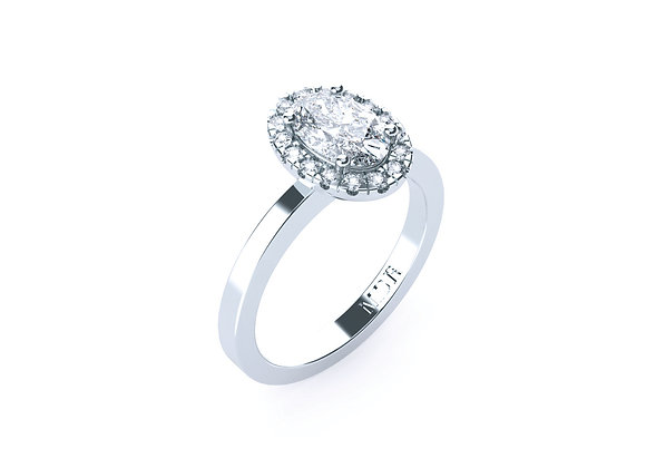 Oval Cut Diamond Ring with a Halo of Diamonds set in Simplicity of 18ct White Go