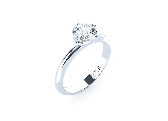 Classic 18ct White Gold Round Brilliant Cut Diamond Solitaire Ring