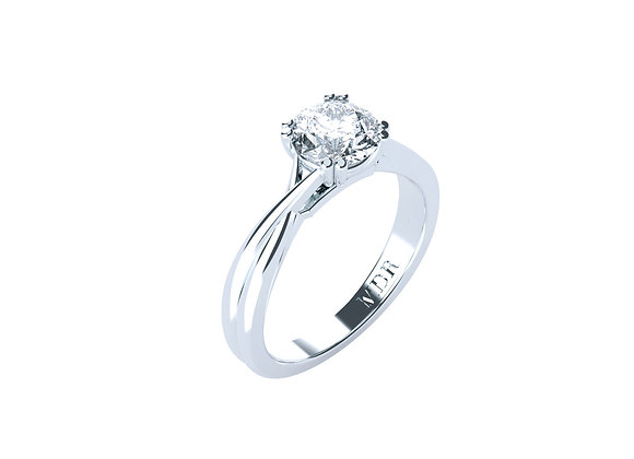 Round Brilliant Cut Diamond with a twist! Complete in 18ct White Gold