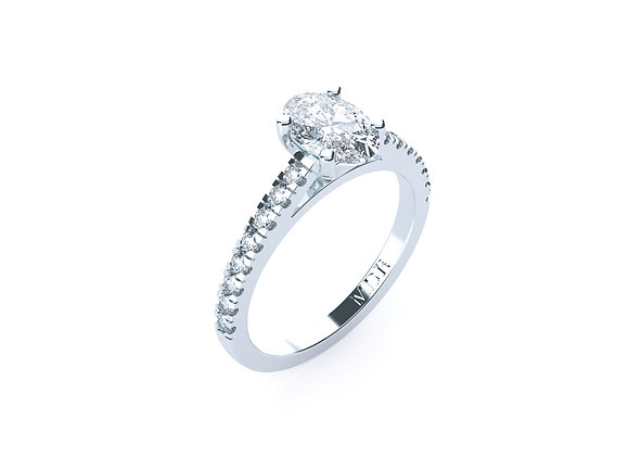 18ct White Gold Oval Diamond Ring set amongst an array of shoulder Diamonds
