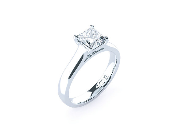 Princess Cut Diamond Ring finished and Superbly Made in 18ct White Gold