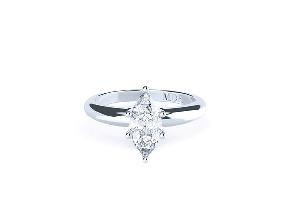 18ct White Gold Diamond Solitaire Ring with a stylish but classic band