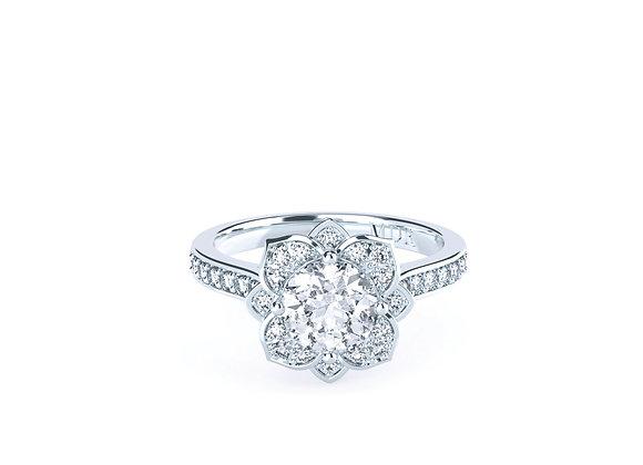 Round Brilliant Cut Diamond Centre in a Floral Setting Platinum Ring