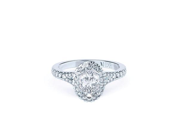 18ct White Gold Oval Diamond Ring set with an abundance of dazzling Diamonds