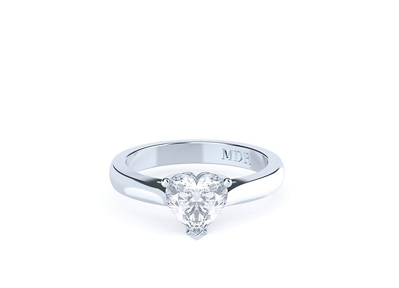 Simple elegance with the classic 3 claw heart diamonds 18ct White Gold Solitaire