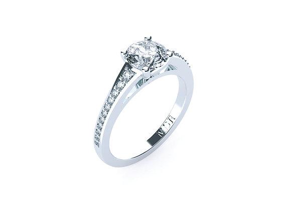 Round Brilliant Cut centre Diamond with Diamond Band Platinum Ring