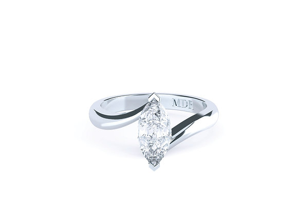 18ct White Gold Marquise Cut Diamond Solitaire designed with a modern twist.