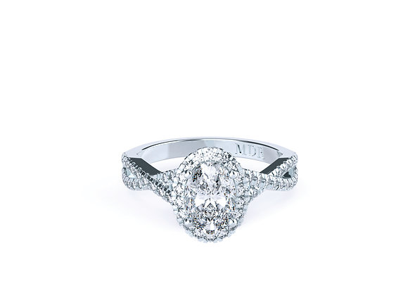 Diamond Halo Oval Cut Ring with Intricate Superb Platinum Band