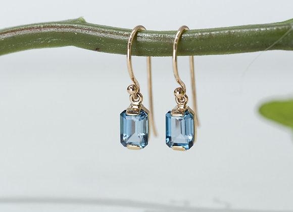 London Blue Emerald Cut Drop Earrings